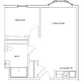 Floor Plans - 1 Bedroom Accessible